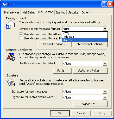 Dan's Mail Format Site | Configuration | Outlook